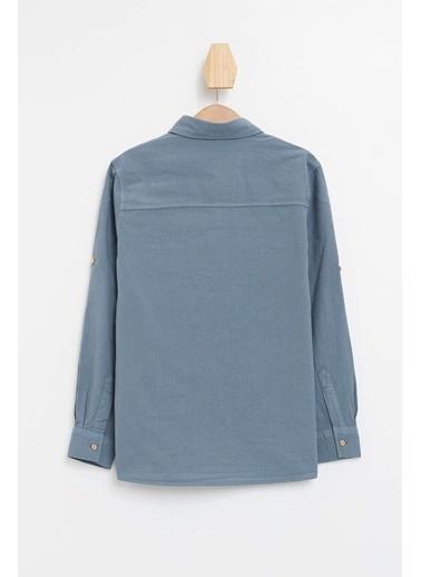 DeFacto Erkek Çocuk Tek Cepli Kolu Katlamalı Gömlek Mavi
